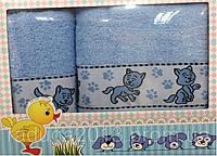 Набор махровых полотенец HANIBABA котики голубые