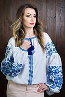 Модная женская вышитая блуза в голубой гамме до 62 размера