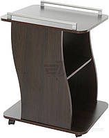 Журнальный столик на колесиках с ручками и полочкой венге