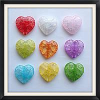 Бусины Crackle Сердце  2,5 см