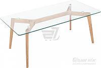 Стол журнальный стеклянный с деревянными ножками