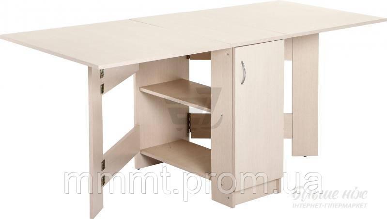 Стол книжка светлая для столовой, для кухни с полочками  - Твой магазин в Киеве