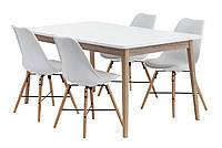Комплект кухонный белый (обеденная группа из стола белого 160 см + 4 стула белых), фото 1