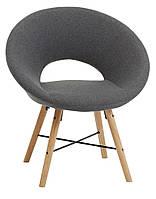 Кресло стильное круглое тканевое серое, фото 1