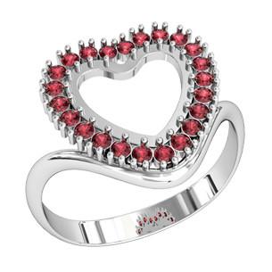 Кольцо  женское серебряное Сердце в камнях 110130