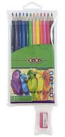 Карандаши цветные ZiBi Smooth 12 цветов Пвх пенал + Точилка для карандашей (ZB.2408)