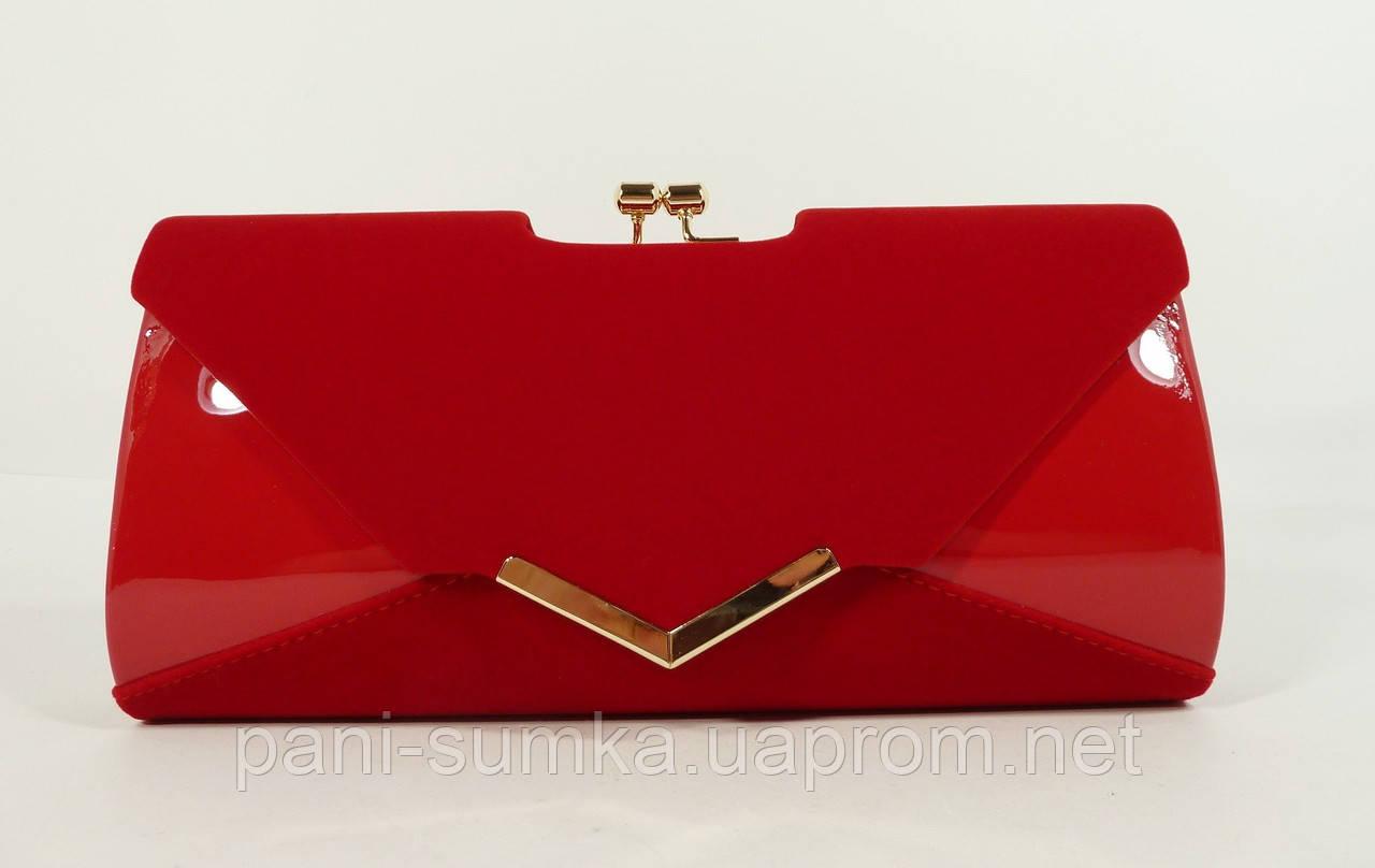 ee12c173a7f8 Вечерний клатч красный велюр/лак, сумочка Rose Heart 002, расцветки, фото 1
