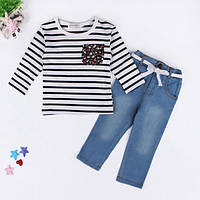 Комплект для девочки джинсы и полосатая кофта