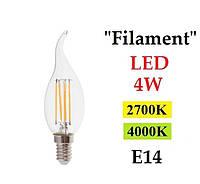 "Светодиодная лампа ""Filament"" Feron LB-59 4W E14 свеча на ветру"