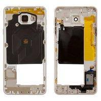 Средняя часть корпуса для мобильных телефонов Samsung A7100 Galaxy A7 (2016), A710FD Galaxy A7 (2016), золотистая, 2Sim+1MMC (dedicated slot)