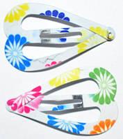 Заколки для волос тик-так, белый, разного цвета цветы(10 шт) 19_3_15a5