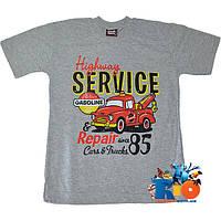 """Футболка с принтом """"Highway Service"""" , трикотаж , для мальчика от 5-8 лет (4 ед.в уп.)"""