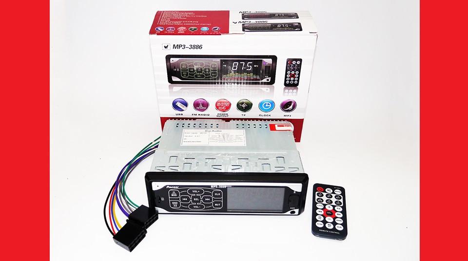 Автомагнитола Pioneer 3886 ISO - MP3 Player, FM, USB, SD, AUX сенсорная магнитола