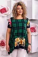 женская летняя блуза туника больших размеров зелёная