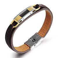 Мужской кожаный браслет со вставкой из стали и карбона, фото 1