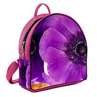 Розовый городской рюкзак с принтом Фиолетовый цветок