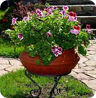Вазон уличный ф 450 мм, садово - парковый пластиковый для цветов (Термочаша - двойные стенки) Терракот.