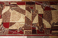 Дорожка ковровая мозаика коричнево-красная