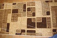 Дорожка ковровая закругленные квадраты коричневая
