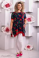 женская летняя блуза туника свободного кроя больших размеров
