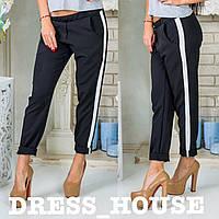 Стильные брюки капри с белыми полосами с лампасамимодные брюки +с лампасами  (черные, розовые, белые, красные)