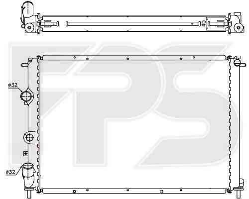 Радиатор охлаждения двигателя Dacia / Renault (NRF) FP 56 A1134-X , фото 2