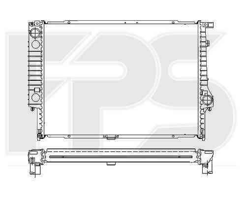 Радиатор охлаждения двигателя BMW 5 E34 (88-97), BMW 7 E32 (87-94) 3.0, 3.5, МКПП, конд. (NRF)