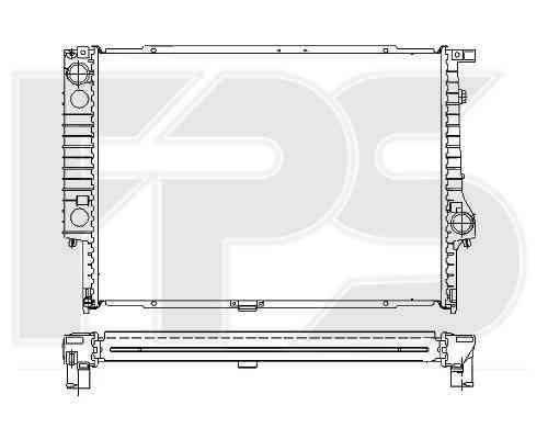 Радиатор охлаждения двигателя BMW 5 E34 (88-97), BMW 7 E32 (87-94) 3.0, 3.5, МКПП, конд. (NRF) , фото 2