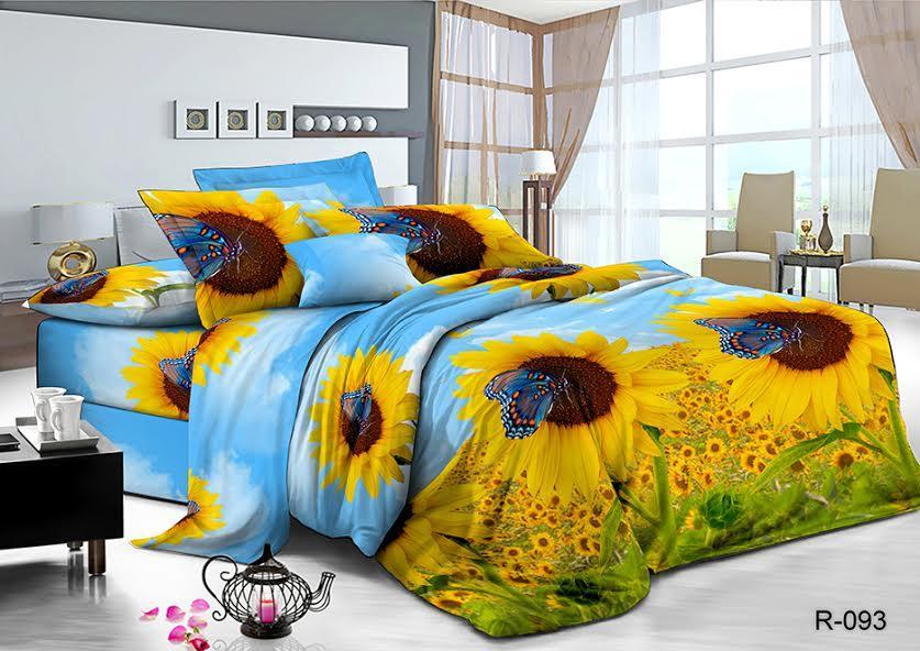 Двуспальный  комплект постельного белья Подсолнухи NEW