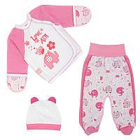 Костюмчик (комплект) на выписку р. 56 для новорожденного тонкий ткань КУЛИР 100% хлопок 3697 Розовый
