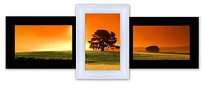 Фоторамка на 3 фото из дерева черно-белая Полет