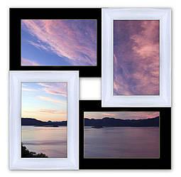 Деревянная рамка на 4 фото чёрно-белая  Классика4