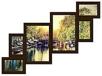 Деревянный фотоколлаж на 6 фото темно-коричневого цвета(венге) Лесенка 6