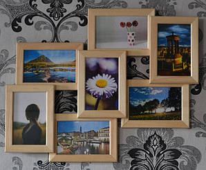 Деревянная фоторамка на 7 фото 7 Чудес светлая