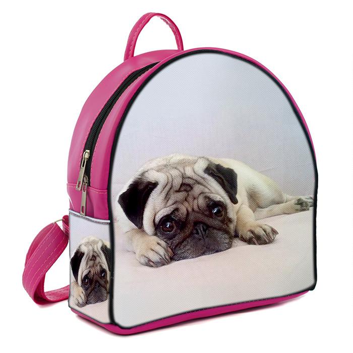Розовый стильный городской рюкзак с принтом Мопс - MalvaOpt в Хмельницком abafeb325e0
