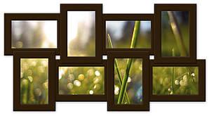 Деревянный фотоколлаж на 8 фото темно-коричневый(венге) История 8