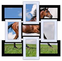 Деревянная мультирамка на 9 фото Классика 9, черно-белая
