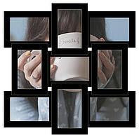 Деревянный фотоколлаж черный на 9 фото Классика 9