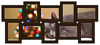 Деревянный фотоколлаж темно-коричневый на 10 фото История 10