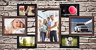 Пластиковая мультирамка на 7 фото Семь желаний коричневая с черным