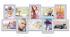 Пластиковая мультирамка на 10 фото История 10, белая
