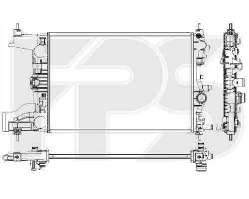 Радиатор охлаждения двигателя Chevrolet Cruze 1.6, 1.8, МКПП, конд. (0