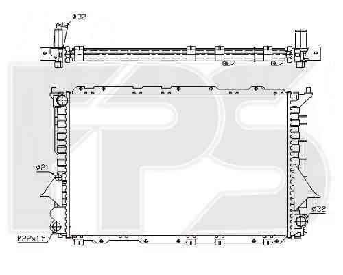 Радиатор охлаждения двигателя Audi 100 C4 2.8 МКПП 1991-1991 (NRF) 632x414x34 , фото 2