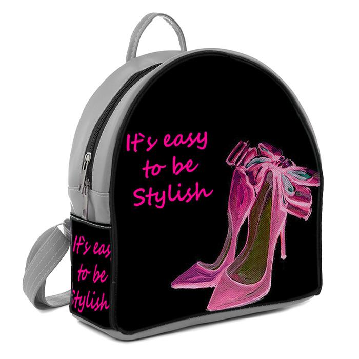 Серый женский городской рюкзак с принтом Розовые туфли  цена ... 0f4d085140b