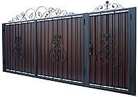 Кованые ворота и калитка В-05 с ПРОФНАСТИЛОМ