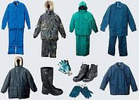 Спецодежда и обувь: костюмы рабочие, халаты, фартуки, куртки, полукомбинезоны, шапки, кепки, обувь рабочая