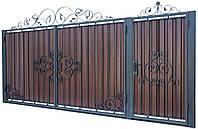 Кованые ворота и калитка В-06 с ПРОФНАСТИЛОМ