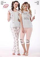 Пижама женская весна-лето футболка+капри вискоза, коттон Cossy by AQUA.