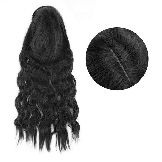Волнистый черный парик с челкой