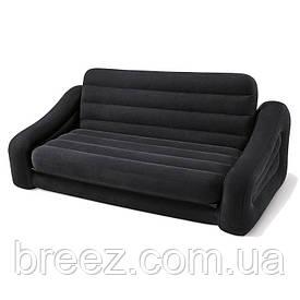 Раскладной велюровый диван 2 в 1 Intex 68566, черный, 221 х 193 х 66 см